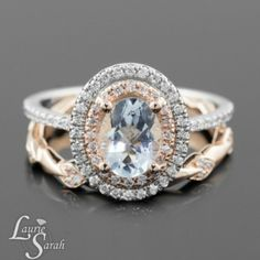 New from Laurie Sarah Designs - Oval Aquamarine Engagement Ring with Diamond Double Halo with Pave Diamond Wedding Band - LS3340