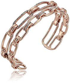 "Michael Kors ""Brilliance"" Iconic Links Rose Gold-Tone Open Cuff Bracelet"