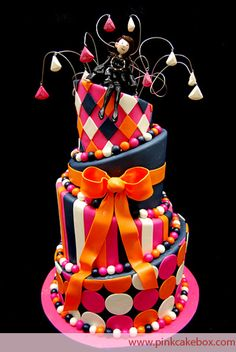 Topsy Turvy Bat Mitzvah Cake with Cake Topper by Pink Cake Box