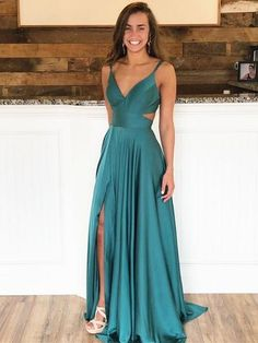 Simple A-Line Deep V-Neck Spaghetti Straps Sleeveless Long Prom Dresses With Sli. - Simple A-Line Deep V-Neck Spaghetti Straps Sleeveless Long Prom Dresses With Slit,/ friday dresses in new fashion Source by storenvy - Pretty Prom Dresses, Simple Prom Dress, Hoco Dresses, Lace Bridesmaid Dresses, Cheap Prom Dresses, Event Dresses, Ball Dresses, Prom Dresses Long Modest, Green Homecoming Dresses
