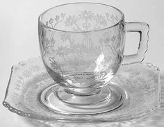 """Fostoria Manor Demitasse Cup & Saucer. 2-3/8"""" Cup, no dimensions for saucer given. $17.99/Pr ea, 2 pairs available at Replacements.com on ebay, 3/20/16"""