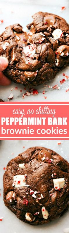 PEPPERMINT BARK BROWNIE COOKIES! Easy to make brownie cookies with chunks of peppermint bark and a sprinkle of crushed peppermint. These cookies are ultra fudgy AND easy to make! via http://chelseasmessyapron.com