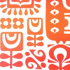 Nouveau Bird - Screen Print (Unframed) Limited edition of 100 - signed and numbered Colour: a rich red and vibrant orange gradient This print started as sketches inspired by Scandinavian folk art and 70s textile motifs. It was then cut from paper, exposed to a silkscreen and hand