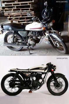 Transformation - Honda Cg 125 1981 - Urban Cafe Racer (before/after). Designed by: Mateus Takaki