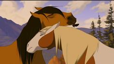 Image of They're in love for fans of Spirit: Stallion Of The Cimarron 26728114 Spirit The Horse, Spirit And Rain, Horse Animation, Animation Film, Spirit Drawing, Horse Movies, Barnyard Animals, Childhood Movies, Horse Pictures