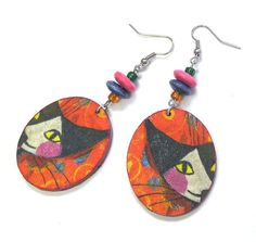 Cat  face decoupage earring decoupage jewelry wood by Colorwave, $12.00