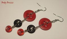 Red and Black button earrings! Funky, fun, rock n' roll! Silver hooks https://www.etsy.com/ca/listing/227015093/red-and-black-button-earrings-funky-fun?ref=pr_shop