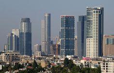 Skyscrapers Tall towers New buildings in Tel Aviv Israel Luxury towers of the richest people in Tel Aviv