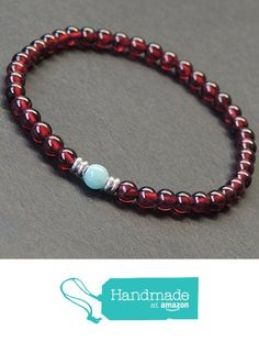 Men and Women Bracelet Handmade with 4.5mm Garnet 5mm Amazinite Healing Gemstone Beads and Genuine 925 Sterling Silver Spacers from DiyNotion http://www.amazon.com/dp/B016IF6XK6/ref=hnd_sw_r_pi_dp_YPGfxb19K7E68 #handmadeatamazon