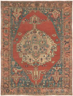 New Addition to the Bostonian Collection:   Serapi, 8ft 9in x 11ft 9in, Circa 1875.  This intensely spirited 19th century Serapi carpet exemplifies the compelling asymmetry and primal motifs of this style that fascinates art connoisseurs. Striking dragon pendants radiate from a grand medallion onto a sparsely adorned field, and then reappear in each of its spacious azure corner pieces along with numerous expressively drawn organic forms.