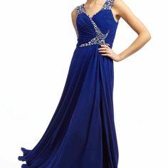 A-Line Long Beaded Sleeveless V-Neck Chiffon Prom Dress With Ruching - UcenterDress