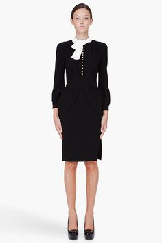 ALTUZARRA Black Tie Collar Roy Dress