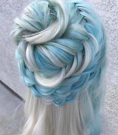 Braided mint blue and silver hair inspo