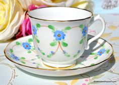 Hammersley Blue Garland Hand Painted English Bone China Teacup and Saucer c.1912-39 Cup And Saucer Set, Tea Cup Saucer, Tea Cups, China Cups And Saucers, Teapots And Cups, Vintage China, Vintage Tea, Vintage Tableware, China Tea Sets