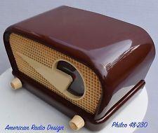 PHILCO 48-230 FLYING WEDGE Mid-Century Modern Tube Radio-WORKS-CLEAN