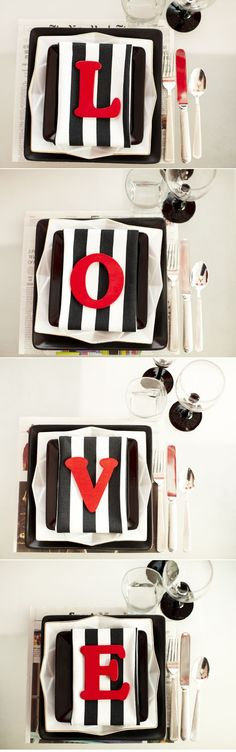Such a fabulously creative way to set the table for Valentines Day! Love the letters on each place setting. #valentines #party