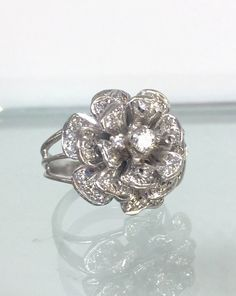 One of a kind14k white gold diamond ROSE ring by VintageGinga