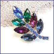 Juliana Pin Peacock Crystal Leaf Brooch 1950s...