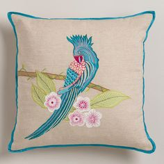Tropical Parrot Embroidered Throw Pillow from Cost Plus World Market