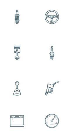 Free Car Parts Outline Icon Set - Oxygenna Web Design Finger Tattoos, Car Tattoos, Neue Tattoos, Tatoos, Web Design Agency, Icon Design, Logo Design, Piston Tattoo, Motorcycle Tattoos