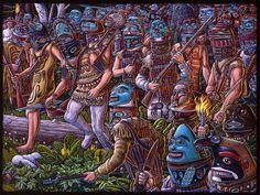Tlingit going in battle with war gears