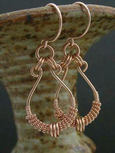 Wire Wrapped Earrings, Rose Goldfill Earrings or Yellow Goldfill Earrings, Rose Gold Fill Jewelry, Wire Wrapped Jewelry by LoneRockJewelry on Etsy