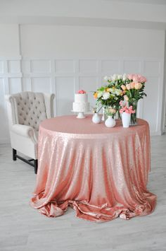 """Blush Pink Sequin Tablecloth Table Cover - 90"""" x 132"""" Perfect for your wedding, party, bridal shower, baby shower or holiday party!"""