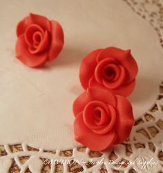 Clearance  4 pc of 24mm Romantic Polymes Clay Rose 1 by CMVision