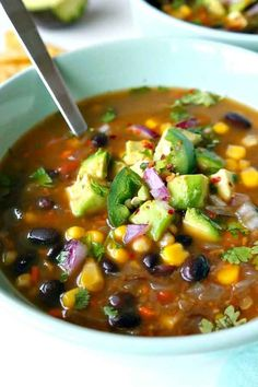 Black Bean soup Recipes is Among the Beloved soup Recipes Of Several People Round the World. Besides Easy to Make and Great Taste, This Black Bean soup Recipes Also Health Indeed. Vegan Soups, Vegetarian Recipes, Cooking Recipes, Healthy Recipes, Vegan Black Bean Recipes, Healthy Soups, Black Bean Chili Recipe Vegetarian, Black Bean And Corn Soup Recipe, Recipes With Black Beans And Corn