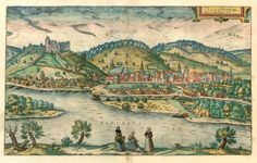 Antique map - Bird's-eye view of Bratislava (Presburg - Pozsony) by Braun and Hogenberg Vintage Maps, Antique Maps, Antique Prints, Bratislava, Old Maps, Birds Eye View, Old City, Old Pictures, Illustration