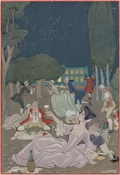 Illustration by George Barbier, 1928, Fêtes Galantes by Paul Verlaine, Watercolour, H. Piazza et Cie, Paris. Engraved on wood and enhanced with gold and silver by hand.