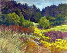 Junko Ono Rothwell: Field of Wildflowers, Pastel, 21 x like the hills of PA Pastel Landscape, Landscape Paintings, Watercolor Trees, Watercolor Paintings, Pastel Artwork, Pastel Paintings, Pastel Drawing, Pictures To Paint, Medium Art