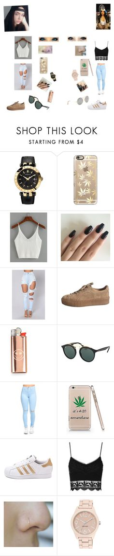 """""""Sem título #62"""" by laurafeldetonello on Polyvore featuring moda, Versace, Casetify, WithChic, Ray-Ban, adidas, Topshop, Nine West e Illesteva"""