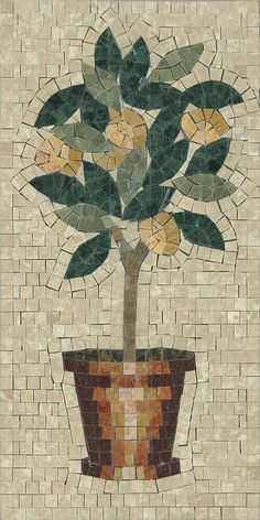 "Mini Lemon Tree mosaic 12"" x 24"" by Appomattox Tile Art"