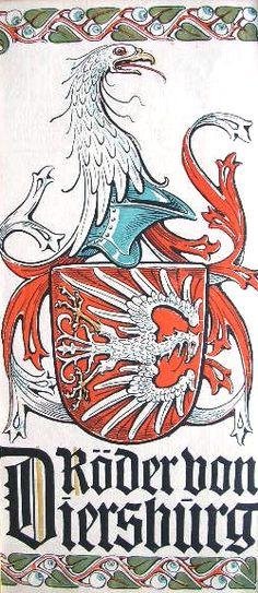 """Wappen des Geschlechts """"Röder von Diersburg und Rodeck"""" -- (Woodcut) Holzschnitt in 4 Farben von Otto Hupp; 29 x 13,5 cm; (aus dem """"Mchn. Kalender"""" von 1913)"""