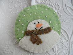 Felt Snowman Ornament Penny Rug Primitive Christmas Decoration Felted Wool