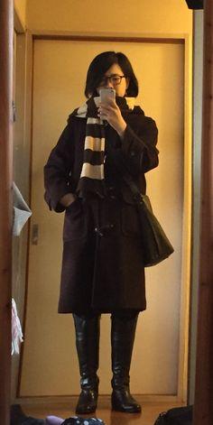 アローズダッフル 寒いのでロングブーツに皮のバケツショルダー