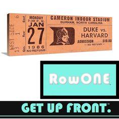 Row One™ Brand vintage Duke basketball ticket art. Vintage sports art. Vintage man cave décor. #Row1
