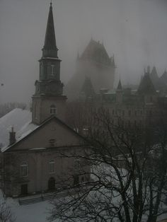 Foggy (or soul-foggy) morning in Quebec City, Chateau Frontenac in the background