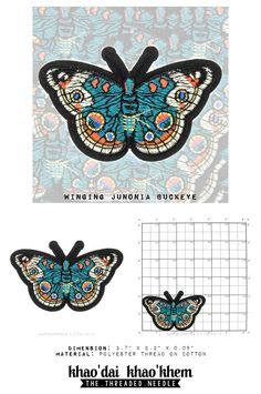 The Lepidopterarium x Winging Junonia Buckeye - Die Cut Embroidered Iron On Applique Patch by GiftsForYou88 on Etsy