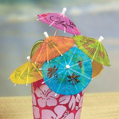 We need Punch parasols..... because they are fun!!!!!!! Cocktail Parasols - OrientalTrading.com