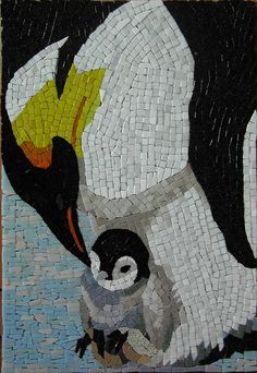 Penguin mosaic by phoebe's mosaic, via Flickr