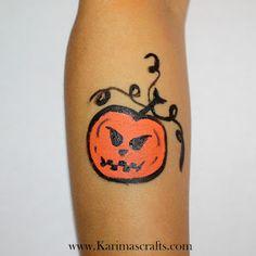 Karima's Crafts face paint painting for kids pumpkin halloween ideas design arm