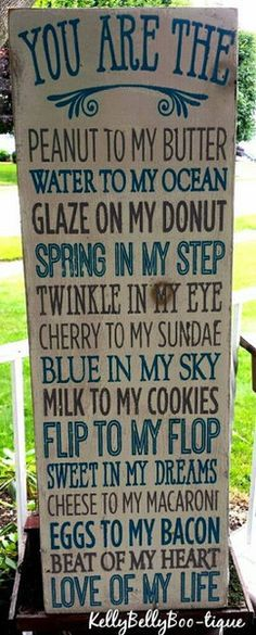 "9"" x 28"" wooden sign This delightful sign uses cute comparisons to let the one you love know just how much in a fun and whimsical way! Blue and grey lettering w"