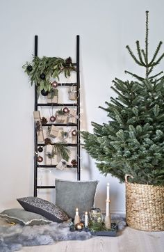 "This is how the ""Nordic Christmas"" look works: decorative ladders are in full . - This is how the ""Nordic Christmas"" look works: deco-ladders are in line with the trend – and are - Christmas Mood, Christmas Is Coming, Simple Christmas, Christmas Trees, Christmas Christmas, Real Xmas Trees, Minimalist Christmas Tree, Christmas Presents, Xmas Tree Decorations"