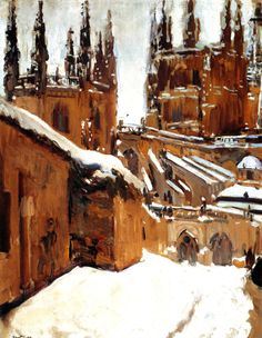 The Cathedral of Burgos under the Snow - Joaquin Sorolla y Bastida - The Athenaeum Spanish Painters, Spanish Artists, Mary Cassatt, Monet, Matisse, Landscaping Near Me, Pierre Bonnard, Painting Snow, Paintings I Love