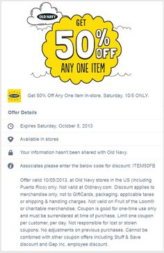 Pinned October 4th: 50% off a single item Saturday at #OldNavy #coupon via The Coupons App