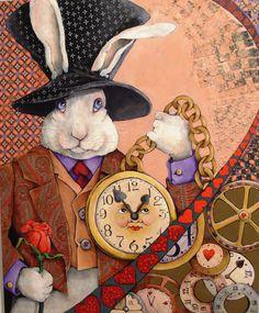 """""""White Rabbit"""" By Judy Grupp Mixed media"""