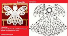 Different angel graph from picture Thread Crochet, Crochet Motif, Crochet Designs, Crochet Doilies, Crochet Yarn, Crochet Stitches, Family Christmas Ornaments, Christmas Angels, Christmas Crafts