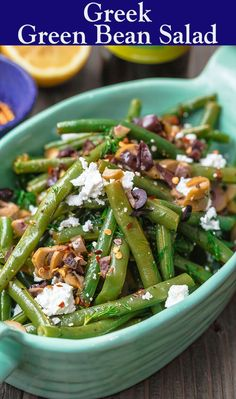 Perfectly tender, flavor-packed green bean salad prepared Greek style with a zesty lemon dressing, feta, and chopped olives. Bean Salad Recipes, Green Bean Recipes, Healthy Recipes, Vegetarian Salad Recipes, Keto Recipes, Mediterranean Diet Recipes, Mediterranean Dishes, Green Bean Salads, Greek Dishes